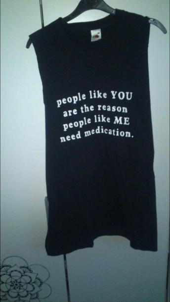 top t-shirt tank top goth black medication insane mucle tee pastel goth pastel goth