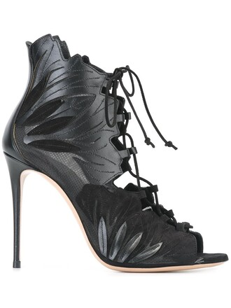 women sandals lace leather suede black shoes