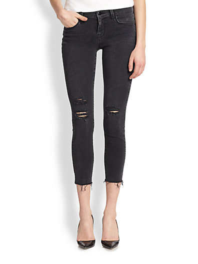 J Brand - Photo-Ready Distressed Cropped Skinny Jeans - Saks.com