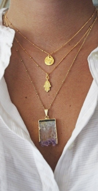 jewels necklace indie jewelry beautiful buddha gold necklace gold crystal stone hand gold jewelry hamsa