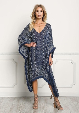 dress boho gypsy bohemian kaftan cover up navy