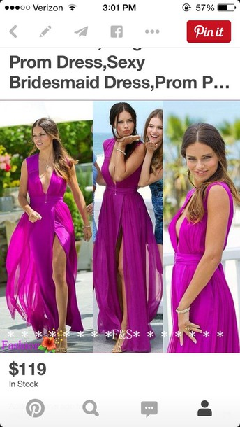 dress deep v neck high slit purple
