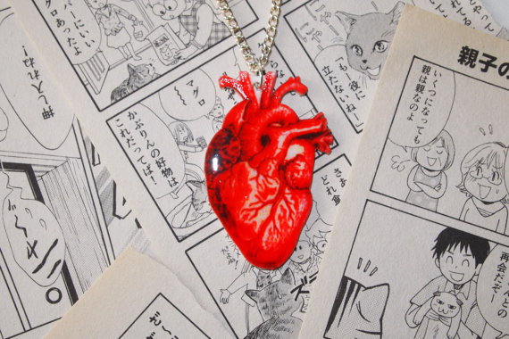 Anatomical heart necklace  anatomy tattoo by cupcakeschopsticks