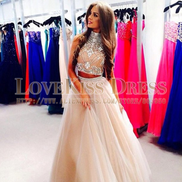 Aliexpress.com : Buy Sparkly Two Piece Prom Dresses Crystal Beaded ...