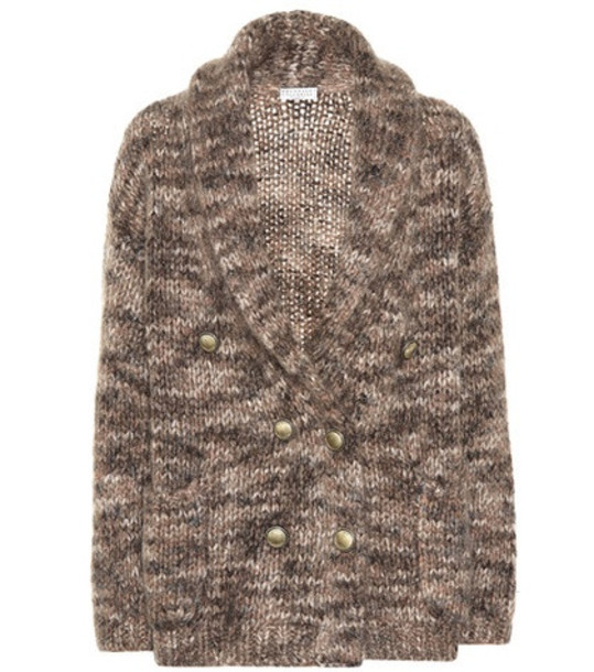 Brunello Cucinelli Mohair and silk cardigan in brown