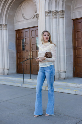 eatpraywearlove blogger top shoes bag blouse flare jeans ankle boots brown bag thanksgiving outfit white top ruffle ruffled top turtleneck