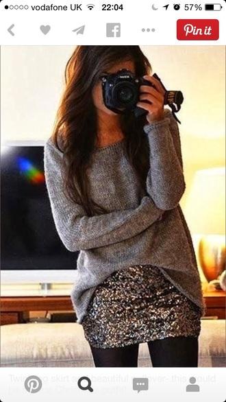 skirt sequins sweater grey sweater