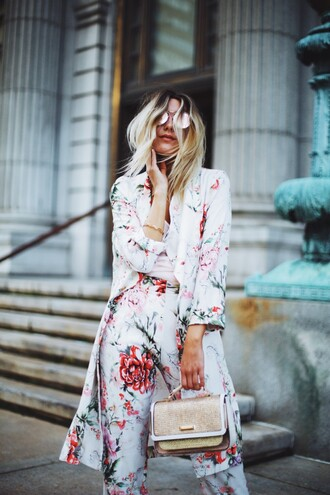 coat floral coat top floral pants tumblr floral pants bag gold bag sunglasses