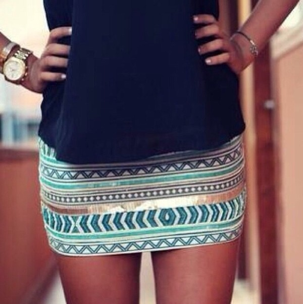 skirt blue skirt silver watch blouse legs stripes navy blue skirt aztec gold glitter dress