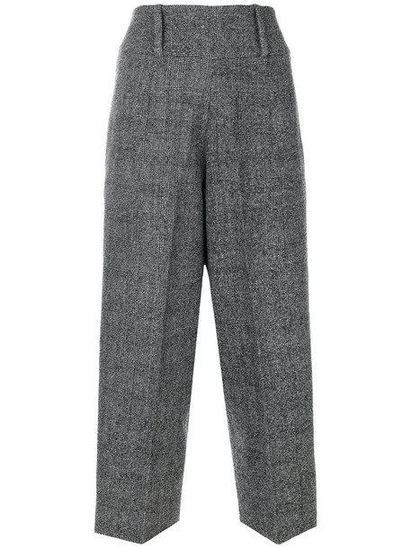 LARDINI cropped high women wool grey pants