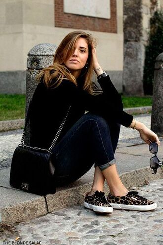 shoes superga sneakers animal print jeans blue jeans bag black bag chanel chanel bag chanel boy sweater black sweater chiara ferragni the blonde salad blogger top blogger lifestyle