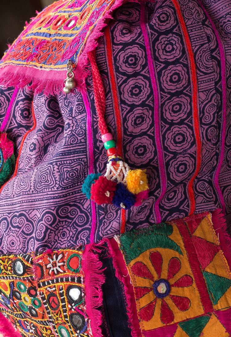 20% off coupon code!! chakra back pack backpack hmong batik banjara embroidery mirror work tribal boho hippie festival bag with tassels