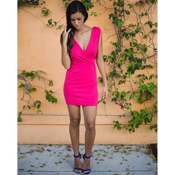 Dress Open Back Black Dress Little Black Dress Fuchsia Hot Pink