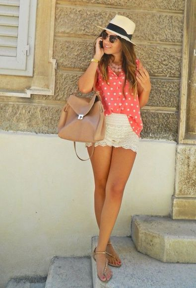 white hat shoes mini shorts white shorts sun summer outfits summer shorts bag sunglasses
