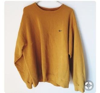 shirt yellow vintage nike crewnecc