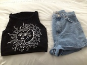 shirt,pants,moon,sun,black,white,clothes,summer,summer outfits,shorts,tank top,moon and sun,t-shirt,graphic tee,quote on it,tumblr,black and white,monochrome,pretty,indie,hipster,top,luna,stars,t shirt print,hippie,style