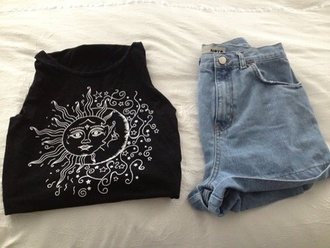 shirt pants moon sun black white clothes summer summer outfits shorts tank top moon and sun t-shirt graphic tee quote on it tumblr black and white monochrome pretty indie hipster top luna stars t shirt print hippie style