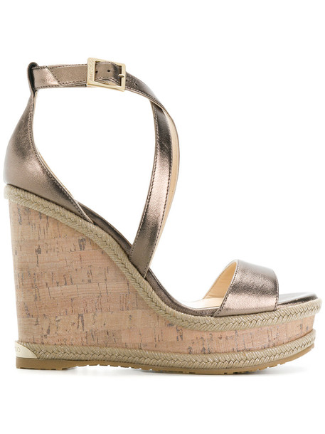 Jimmy Choo women sandals wedge sandals leather grey metallic shoes