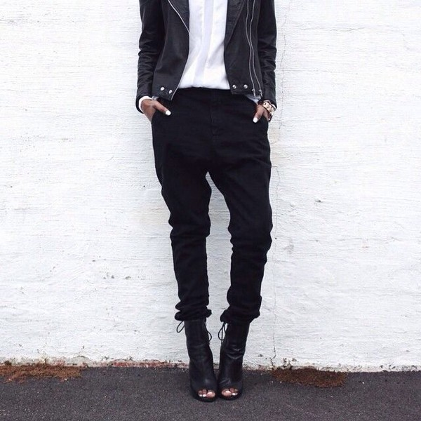 black white shoes pants leather jacket fashion style