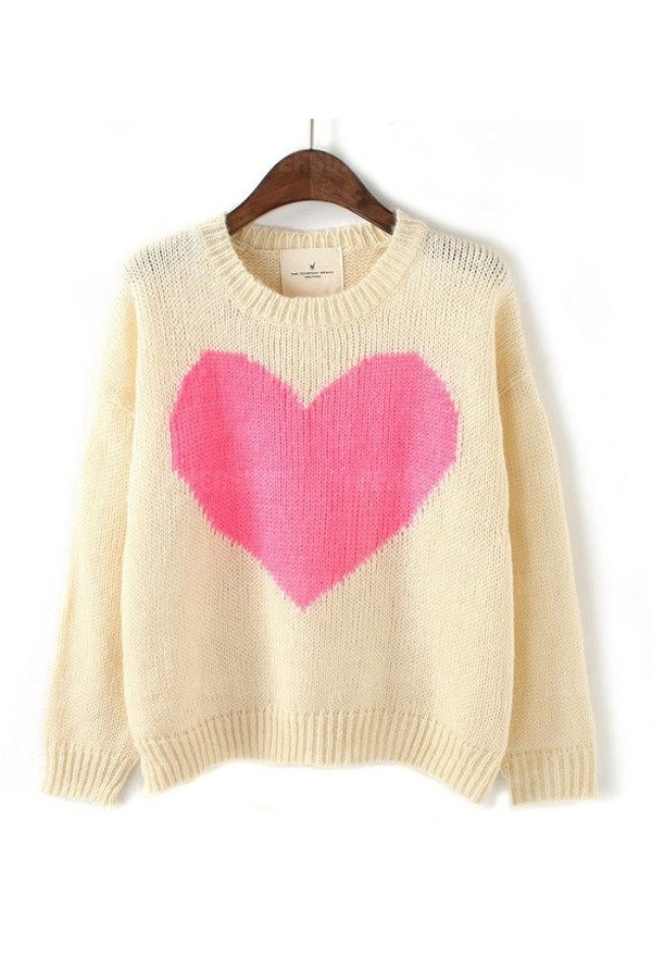Sweet Heart Pattern Loose Sweater In Beige [FKBJ10443] - PersunMall.com