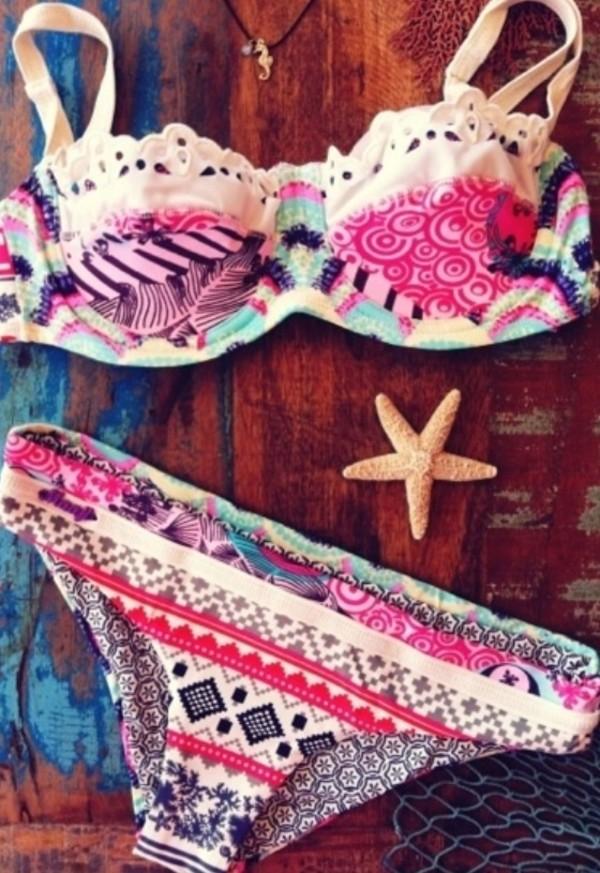 swimwear boho bikini indie hippie vans crochet shell