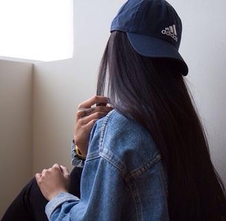 hat navy baseball cap blue adidas duck bill hat adidas hat jacket denim jacket grunge aesthetic