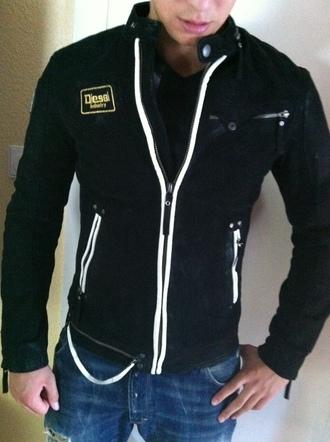 jacket black clothes diesel dieseljacket leather leather jacket