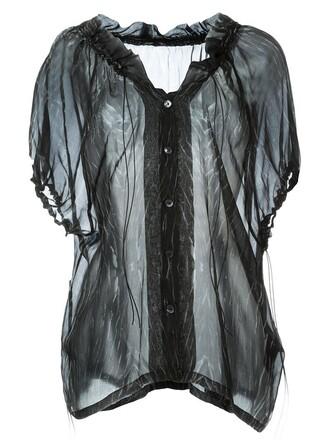 shirt sheer shirt sheer black top