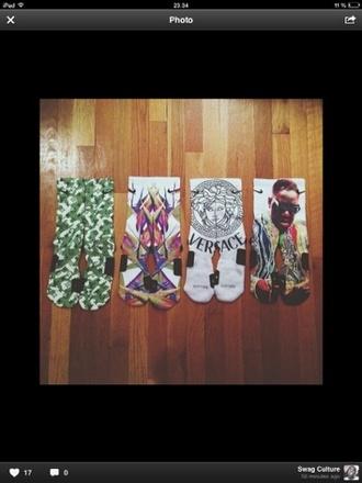 underwear socks print print socks versace camouflage notorious big
