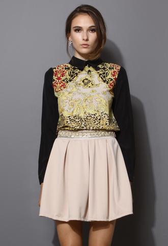 blogger skirt chic sequins pearl waistband skater skirt