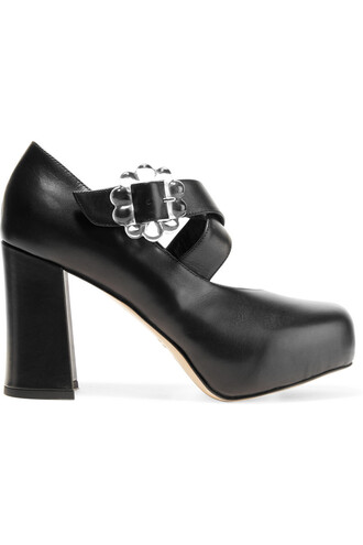 pumps platform pumps leather black shoes