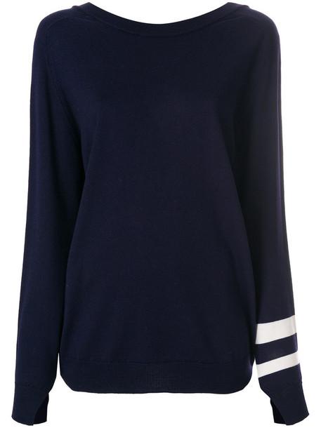 sweater back women blue wool
