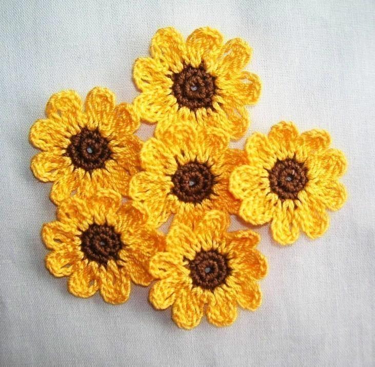 6 handmade crochet sunflowers appliques/crafts/scrapbooking,fall,autumn