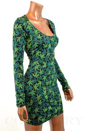 POT WEED MARIJUANA PRINT LONG SLEEVE BODYCON DRESS on The Hunt
