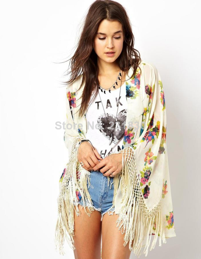 2014 New Summer Women Vintage Ethnic Floral Print Simi Sheer Chiffon Loose Kimono Cardigan Tassels Shirts No Button Blouses Tops-in Blouses & Shirts from Apparel & Accessories on Aliexpress.com
