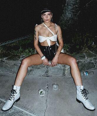 top bikini top bikini instagram boots coachella festival music festival halsey shorts hat