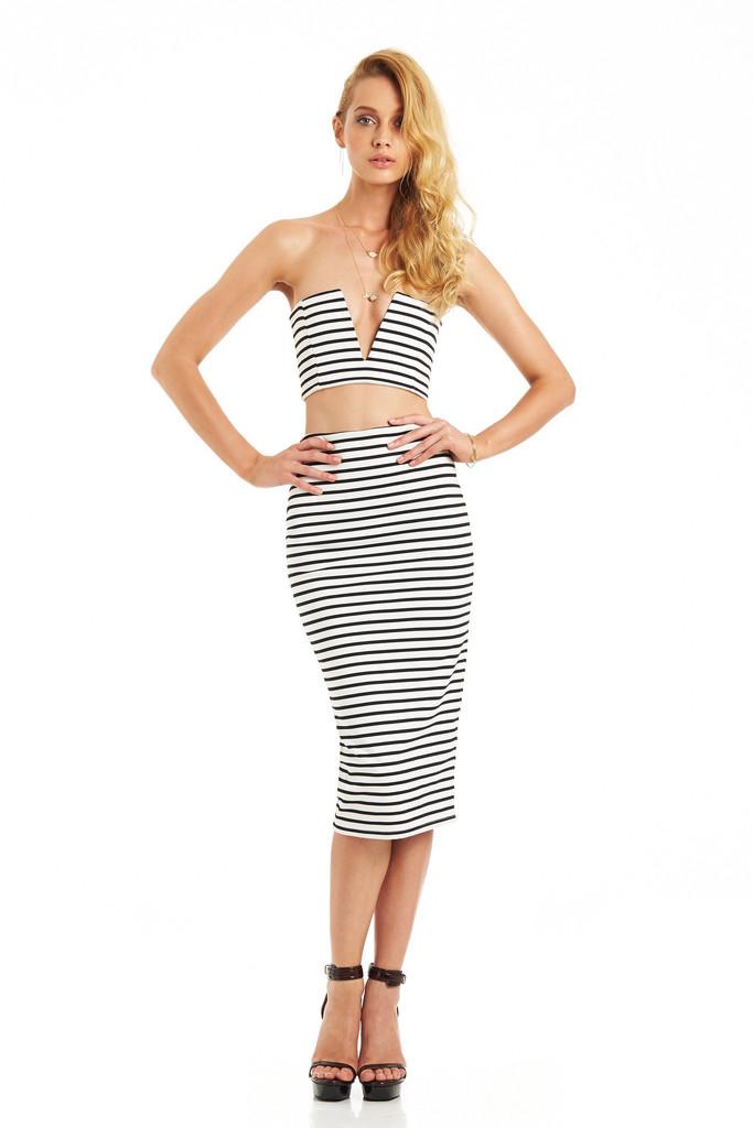 MAESTRO Striped 2 pieces Dress – Glamzelle