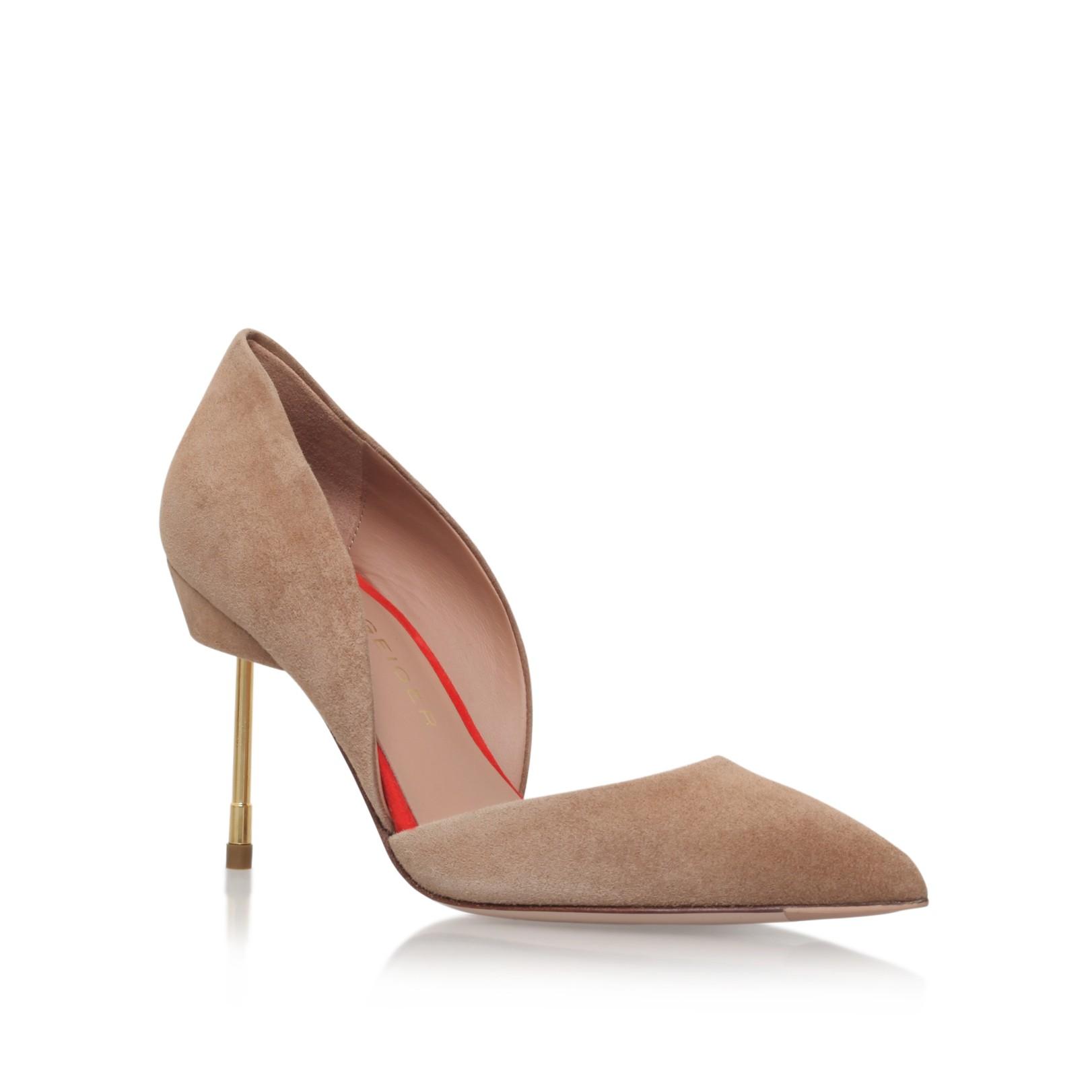 BEAUMONT Tan Mid Heel Court Shoes by Kurt Geiger London