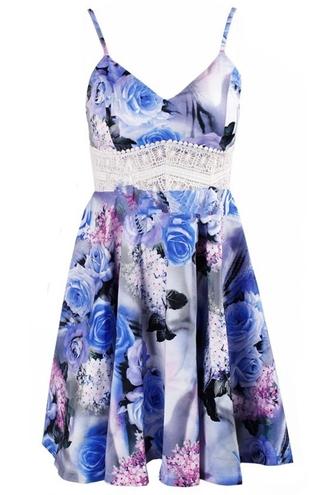 dress girl lace girly summer beach dress boho boho dress floral floral dress print blue flowers indie