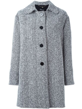 coat women white wool pattern