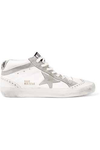 studded high sneakers leather white suede shoes