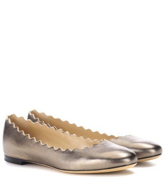 Chloé Lauren leather ballerinas in silver