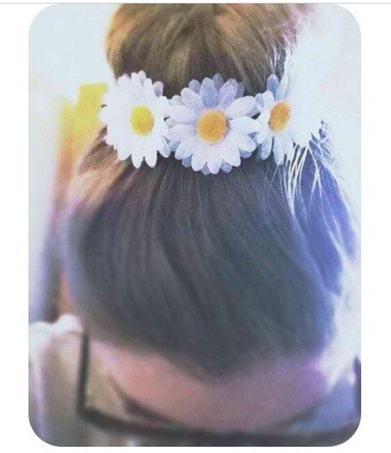 Daisy bun band adorable white daisy bun crown bun wrap flower halo flower crown hippie headpiece boho bohemian daisy hair piece