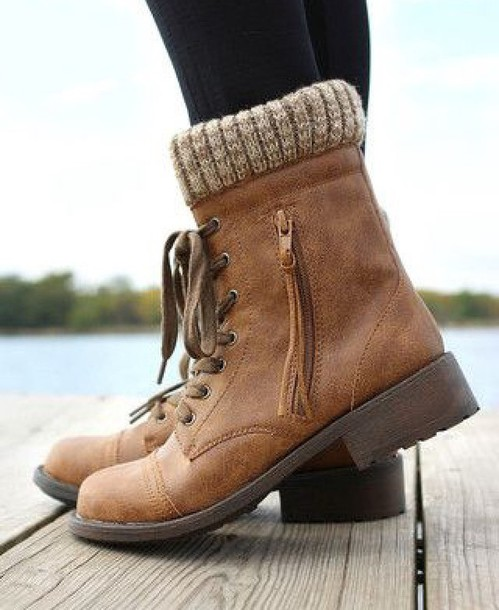 Brown Combat Boots For Girls - Yu Boots