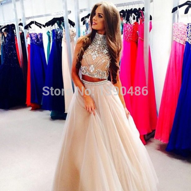 Aliexpress.com : Buy Elegant Two Piece Prom Dresses 2015 High Neck ...
