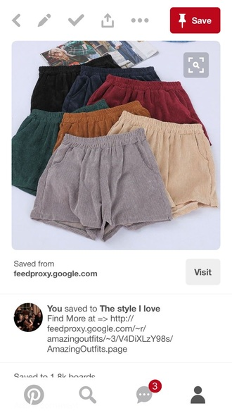 shorts red brown corduroy