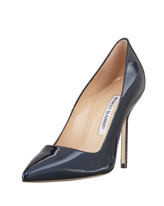 MANOLO BLAHNIK BB Shimmer Patent 105mm Pump, Navy (Made to Order) - Bergdorf Goodman