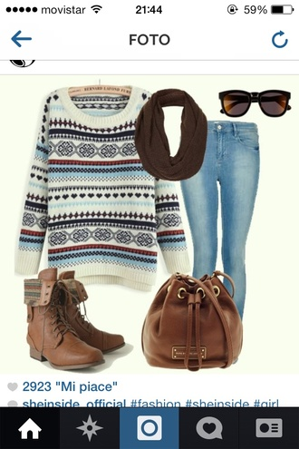 sweater brown scarf shoes bag cool style knitted sweater blue skinny jeans