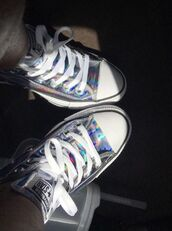 shoes,vibrant,dramatic,holographic shoes,hologram sneakers,converse,chuck taylor all stars,white,holographic,girls sneakers,cute shoes,sneakers,low top sneakers,cool,summer,flashes of style,stylish,very vibrant
