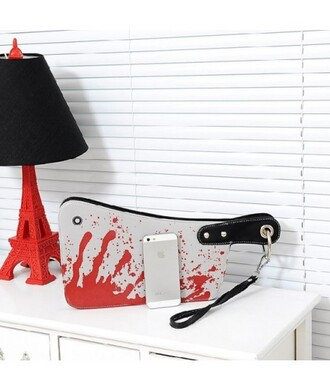 bag purse blood bloody cleaver wristlet clutch trendy halloween cool fashion style red grey it girl shop